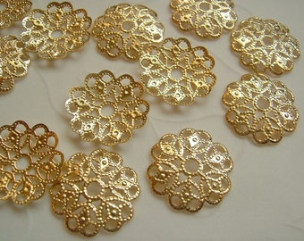 25 pieces of Gold Plated OR Silver Plated Small Filigree Round Focal Components -- 15 mm (You pick The Color)