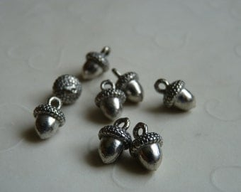 Fall Selected -- 8 pieces of SMALL Acorn Charms in Antique Silver Color  -- 12 x 8 mm