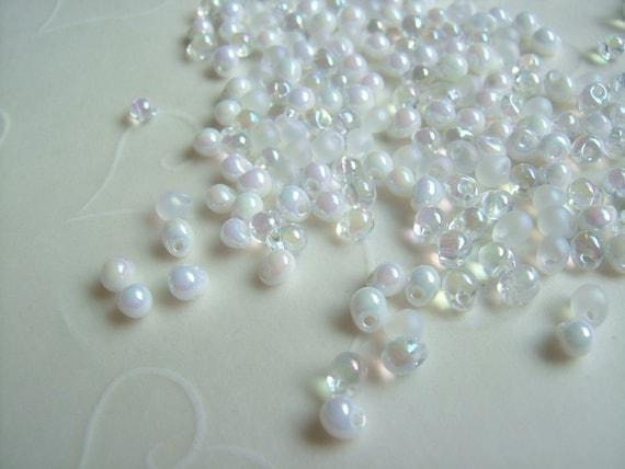 10 grams of Japanese Fringe Beads - Mixed White Wedding Color
