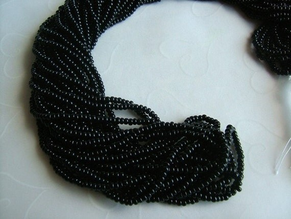 One hank of Czech Opaque Black seed beads - 0904 size 11