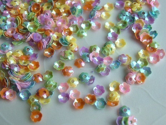 Reserve for RJ Culbertson only -- 48 g of 4 mm Opaque Cupped Mixed Color Iris Flower Sequins