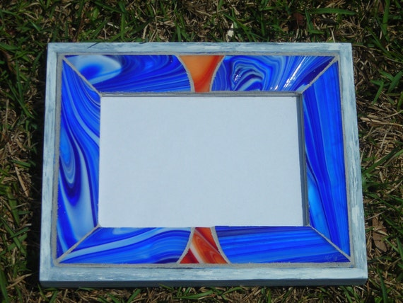 Blue Orange Stained Glass Mosaic 5x7 Picture Frame