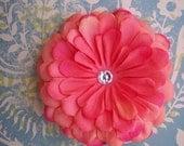 peachy flower hair clip