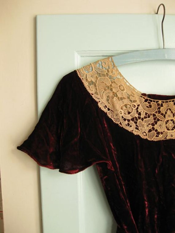 Reserved for Brittany - 1930s lace yoke burgundy silk velvet dress - S