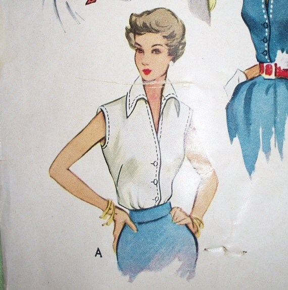1950s Tailored Sleeveless or Long Sleeved Blouse Pattern  32 bust - McCall 8053