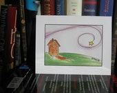 Blank Note Card Outhouse Farm Whimsical Nostalgic Prairie Stationery