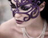 Art Nouveau swirly leaves leather mask in violet