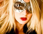 Eyecage Leather Mask in Silver