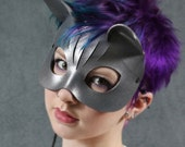 Kitty Leather Mask in Silver