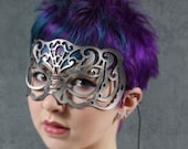 Victoriana leather mask in silver