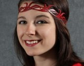 Long leaves circlet in red leather