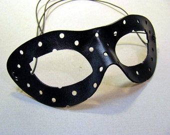 Polka Dot Leather Mask in Black