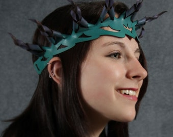 Braided leather crown in teal and purple