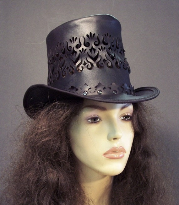 Riding Hat Leather Steampunk in black