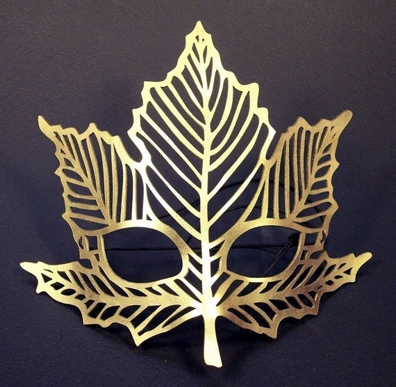 Maple leaf cut out leather  mask in gold