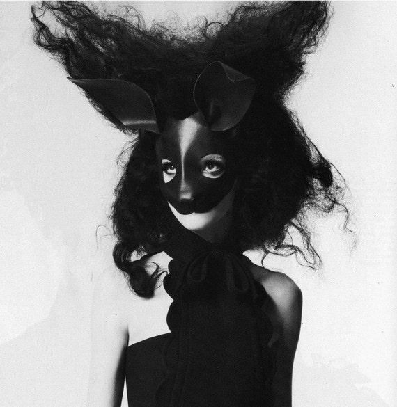 Rabbit leather mask in black