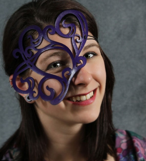 SALE-- Whirly Mask in purple leather