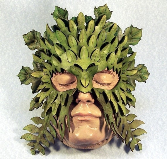 Green Man Leather mask