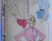 Vintage 50s Secretary Shirt Blouse Pattern 30
