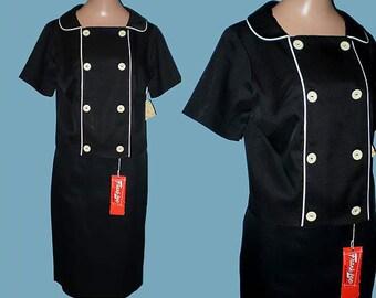 Vintage 60s Black White Suit NOS S
