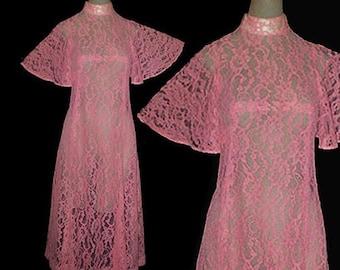 Vintage 60s Pink Lace Dress Flutter Sleeves XS