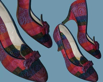 Vintage 50s 60s Plaid High Heel Shoes with Bows 5 B