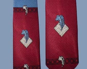 Vintage 50s Tie Feather Print Diamond Jacquard