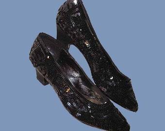 Vintage 80s Black Sequined Pumps Shoes 6 M