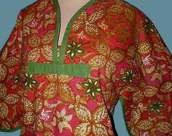 Vintage 60s Boho Batik Cotton Tunic Hippie Dress S