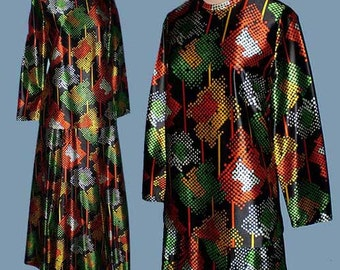 Vintage 70s Arpeja Op Art Maxi Skirt Top Outfit S
