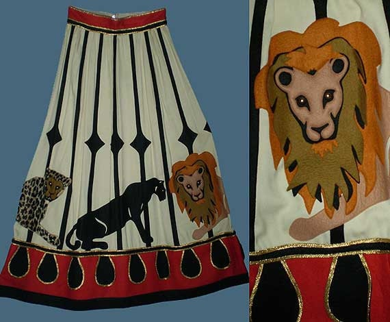 RESERVED FOR closetcasetoo Vintage 70s Malcolm Starr Circus Skirt Jungle Cats M