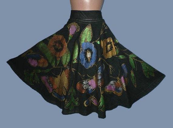 Vintage 60s Hand Painted Circle Skirt Butterflies Flowers M