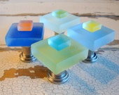 Small Sea Glass Tile Drawer Pulls Cabinet Knobs