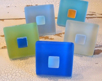 Cabinet Knobs Beach Decor Glass Geometric Pulls
