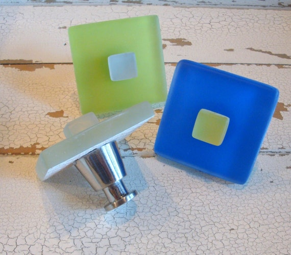 Beach Glass Knobs Drawer Pull Cabinet Knob Sea Green Blue Lime Yellow Nautical Decor