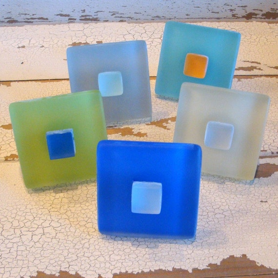 Square Beach Decor Glass Tile Cabinet Knobs Drawer Pulls