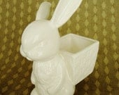 vintage white bunny rabbit white pottery planter for easter
