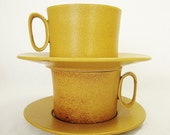 Reserved for Meredyth - 4 vintage bennington pottery tawny mustard cups saucers