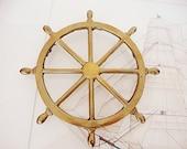 vintage brass ship wheel nautical trivet