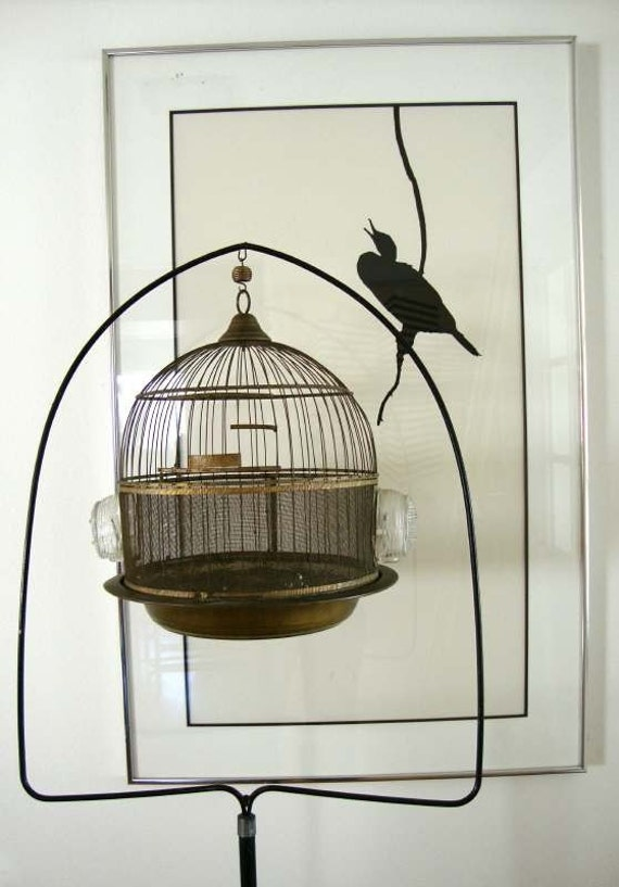 Vintage Hendryx Round Brass Canary Bird Cage And Feeders