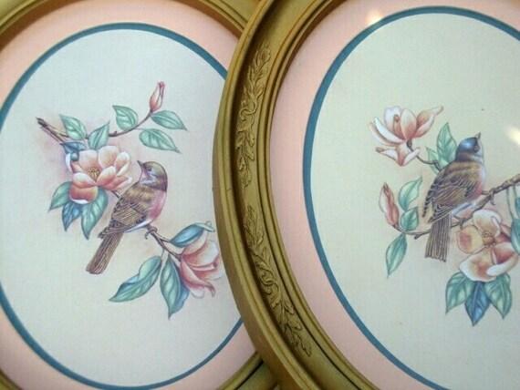 2 Vintage Framed Bird Prints Oval Frames Homco By Sassydoggs
