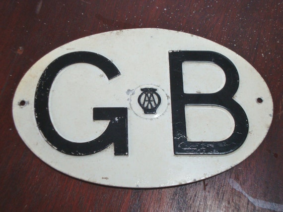 Vintage AA metal classic  auto plate GB oval for UK