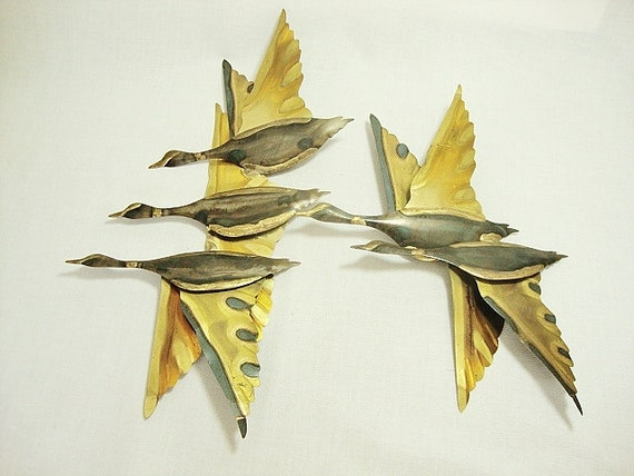 vintage brass flying ducks geese 1970s wall hanging art
