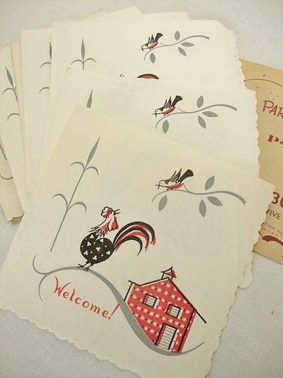 vintage country rooster paper napkins pakay party papers