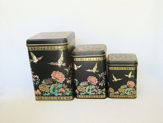 vintage back tin canister set asian theme birds and flowers