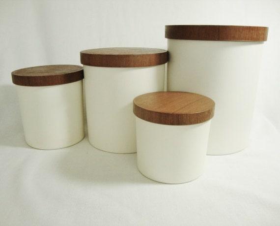 Reserved For Katie Vintage Wood Lid Canister Set
