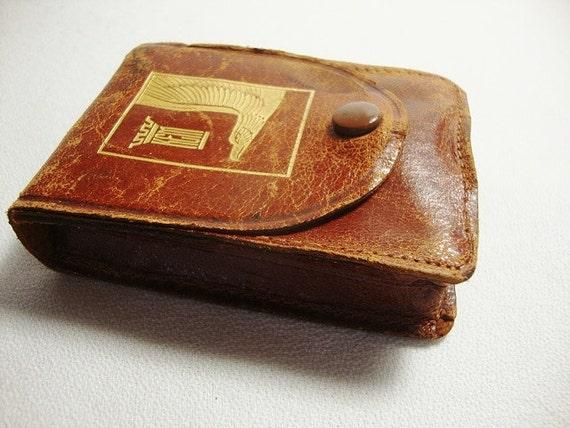 Vintage Kem C102 Eagle Playing Cards In Leather Case