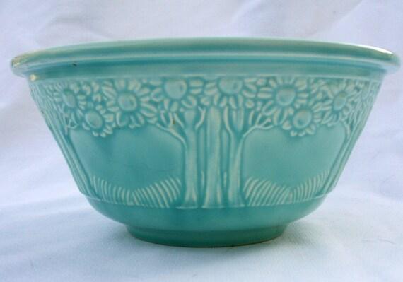 Vintage Homer Laughlin Apple Orange Tree bowl turquoise aqua pottery 8 inch