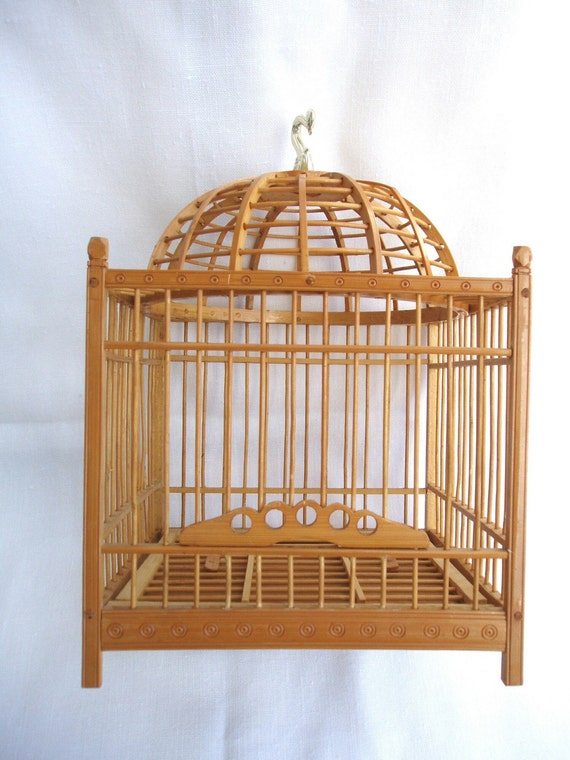 Vintage Asian bamboo bird cage architectural