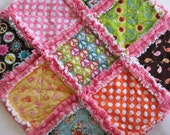 Love and Peace Rag Quilt Lovey Blanket